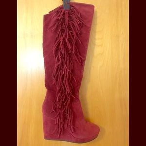 Nature Breeze Red wedge thigh high fringe boots